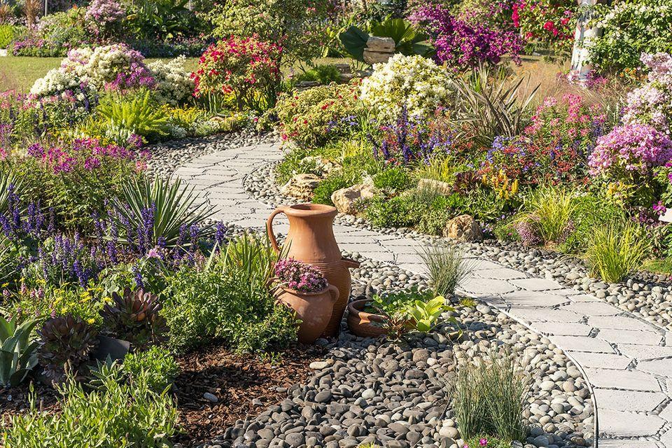 Steingarten mit alpinen Pflanzen und Steinweg