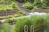 Eine Treppe mit Trockenmauer und Begrünung