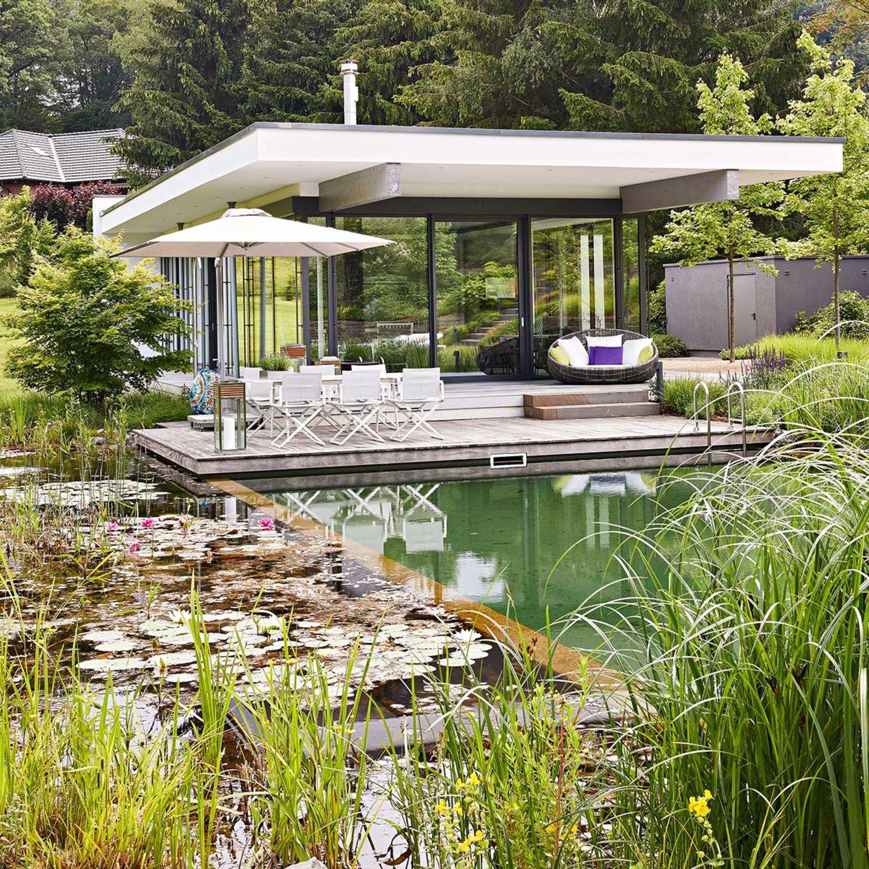 Moderne Architektur mit Schwimmteich