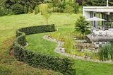 Eine Hecke umzäunt das Garten-Grundstück