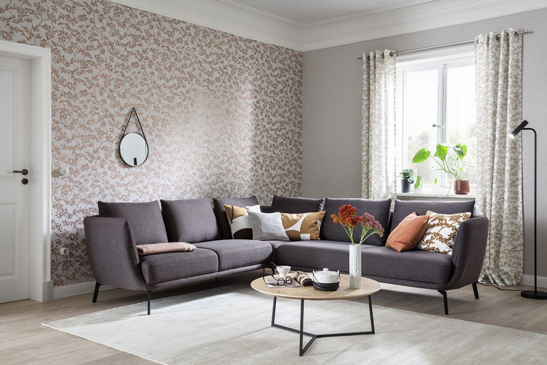 """Teppich """"Alessa"""" aus der SCHÖNER WOHNEN-Kollektion in einem tuffigen Wohnzimmer"""