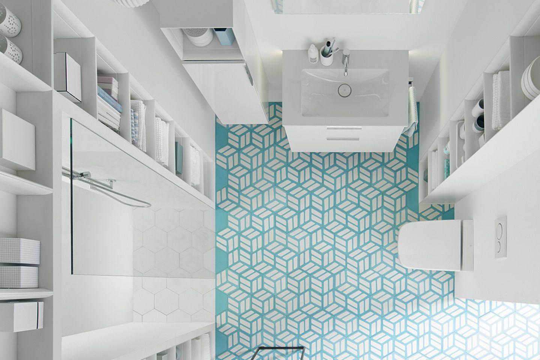 """Kleines, weißes Bad mit der Badmöbelserie """"Eqio"""" von Burgbad und auffälligem Fliesenmuster"""