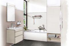 Illustration eines Badezimmers mit Waschtisch und Badewanne