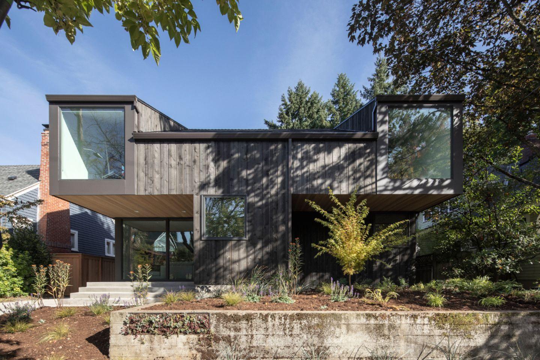 Haus in Portland mit Holzlatten-Konstruktion
