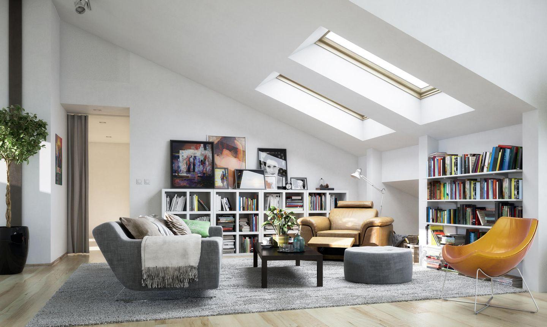 Wohnzimmer unter der Dachschräge